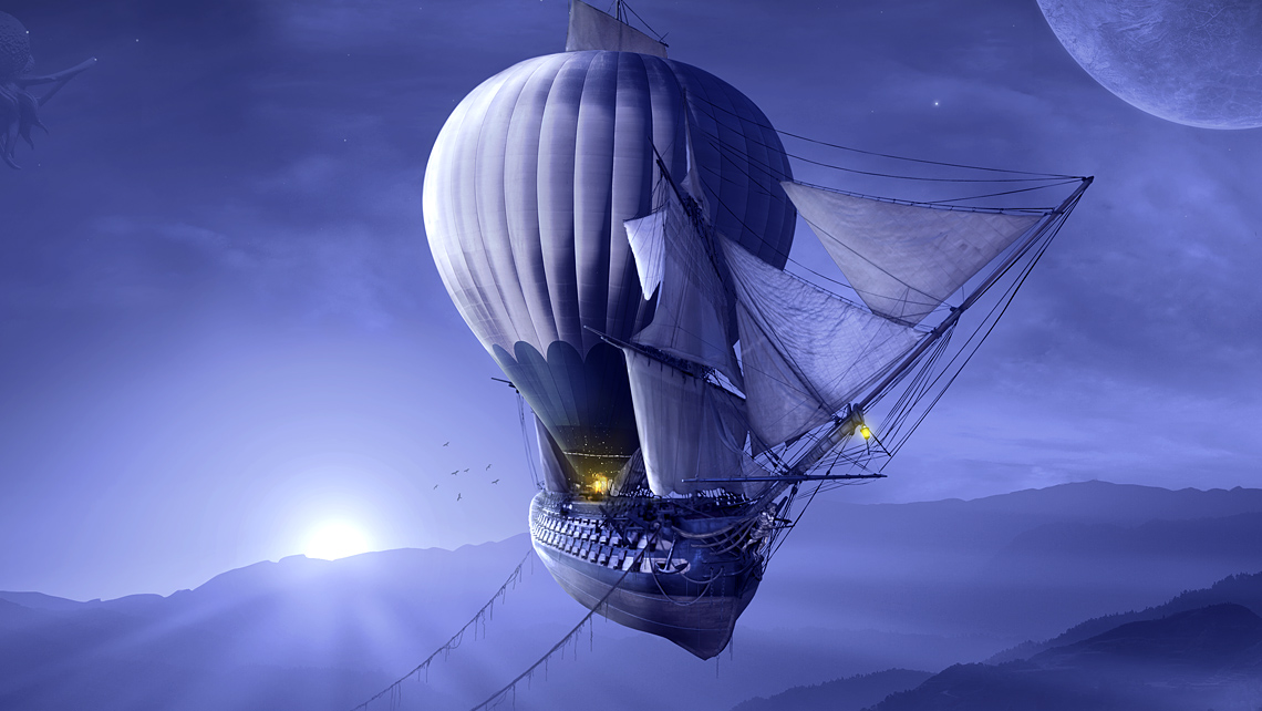 Mystical blue abstract ship